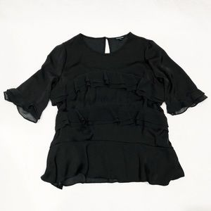Who What Wear Tops - Who What Wear Classic Black Ruffle Blouse